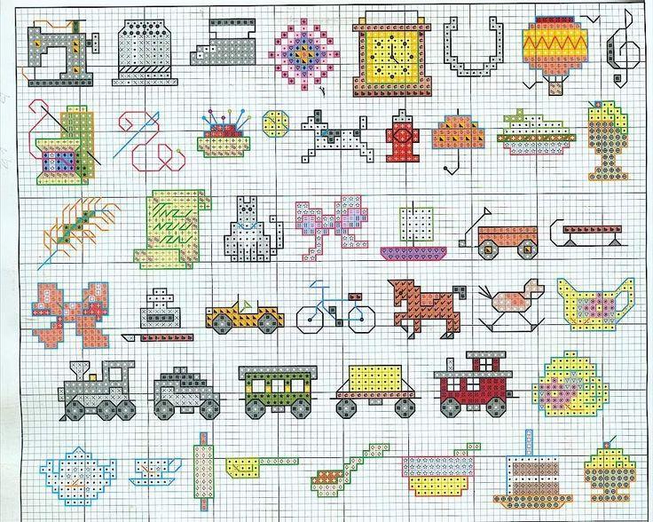 Cross stitch pattern, mini motives.