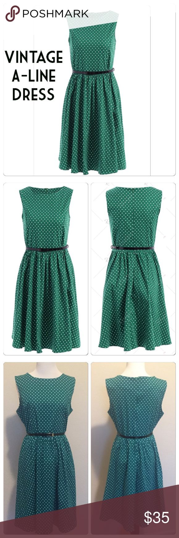 Vintage A-Line Polka Dot Dress Beautiful like new polka dot, vintage style sleeveless green dress. Worn for an hour! A-line, knee-length, round collar and polyester with stretch. Super cute for any occasion. Dresses Asymmetrical