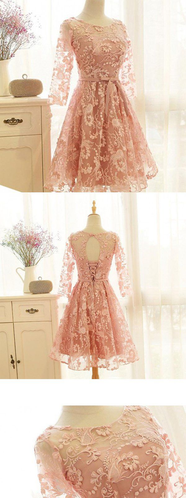Pink Lace Homecoming Dresses,Open Back Homecoming Dresses,Long Sleeves Short Prom Dresses,BDY0248 Pink Lace Homecoming Dresses,Open Back Homecoming Dresses,Long Sleeves Short Prom Dresses,BDY0248 3