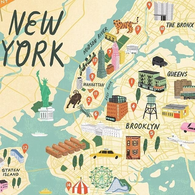 Amazing New York Map With 3d Elements And Chunky Buildings By