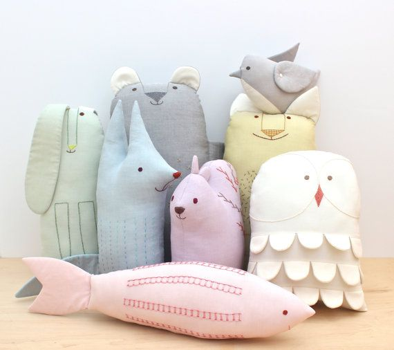 Scandinavian Animal Friends: A PDF Sewing Pattern  An octet of friends! These simple embroidered softies are animals that are all found in Scandinavia.