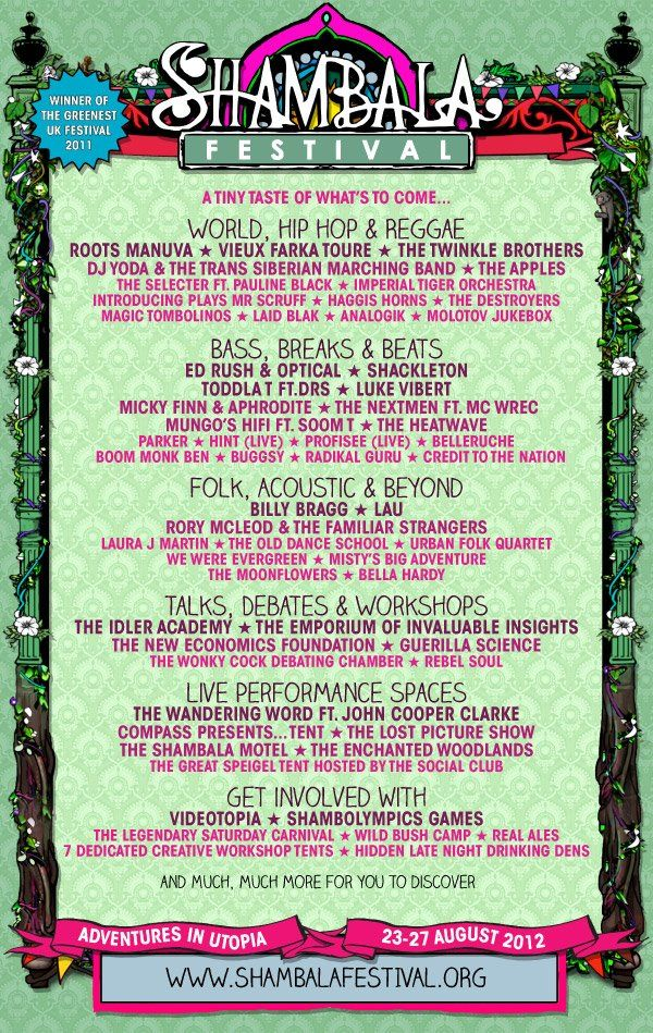 Shambala Festival 2012!!!! Prepare for a magical time!!