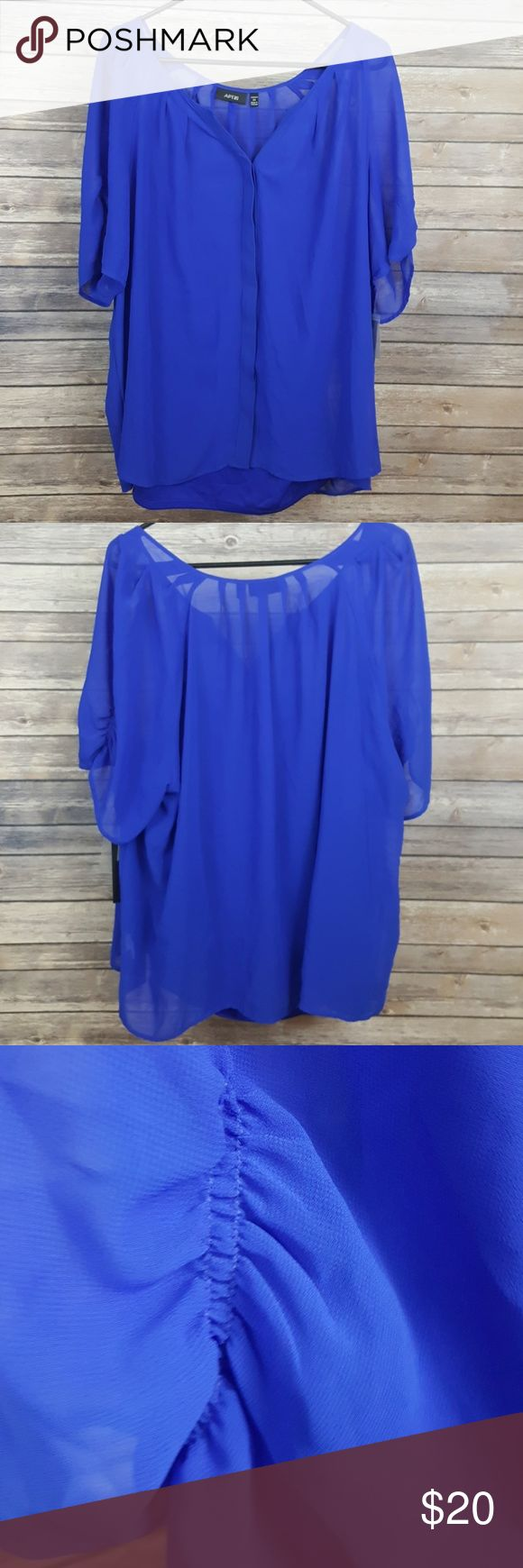 Apt 9 royal blue sheer button down & matching cami Apt 9 royal blue sheer button-down blouse with matching Cami. NWT  size 2 x Apt.9 Tops