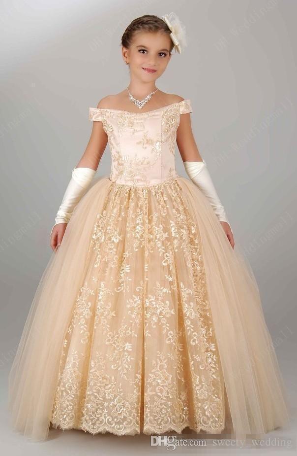 2016 Nuevos vestidos de las muchachas de flor de la vendimia para casarse de los niños del partido de la princesa de Champán del cordón del hombro para los vestidos baratos del desfile de la muchacha del cumpleaños