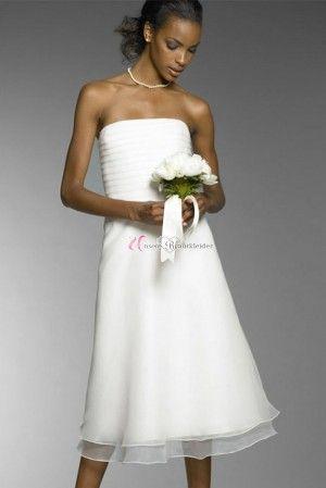 Schlicht Gefaltet Knielang Brautkleid