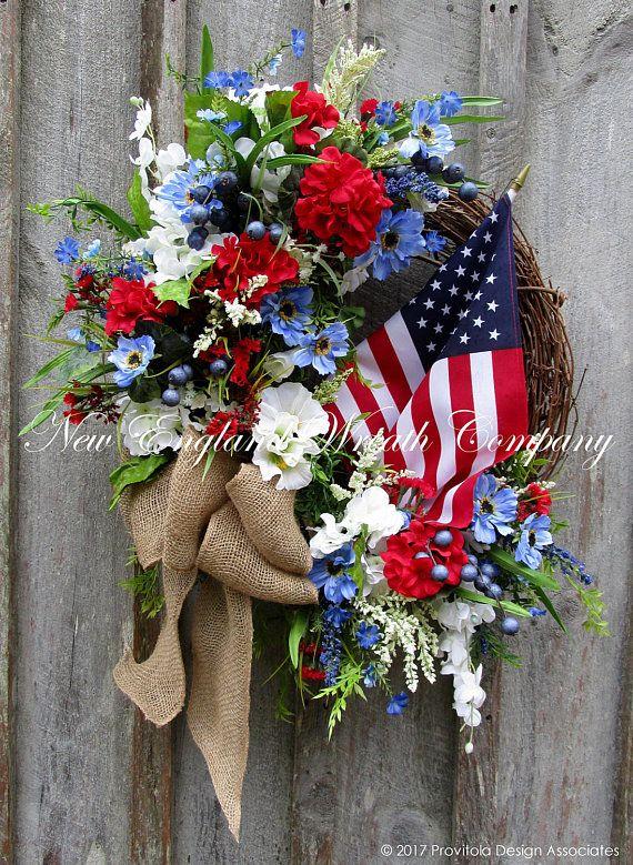Americana Wreath Patriotic Wreath Fourth of July Wreath