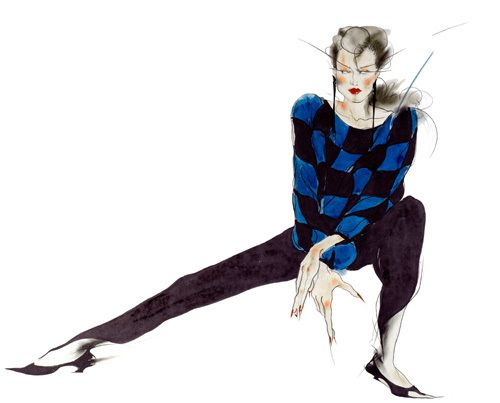 Electric Black & Blue - Air Kiss Collection by Anne Zielinski- Old #femaleartist #fashionillustration #empoweringwomen