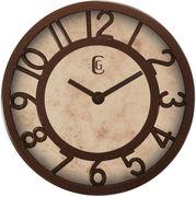 "Geneva 4432G 8"" Simulated Antique Metallic Brown Wall Clock - Geneva Wall Clocks"