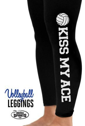 Check out these adorable kiss my ace volleyball leggings!