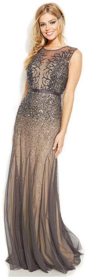 Adrianna Papell Sleeveless Beaded Illusion Gown