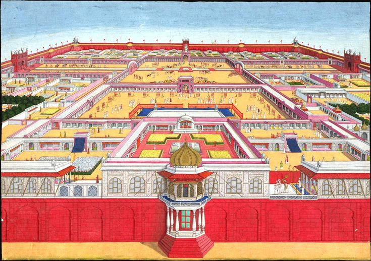 1785 view of the Red Fort from the east. In the foreground the Rang Mahal is on the left, the Khwabgah Jharoka in the centre and the Moti Masjid on the far right.