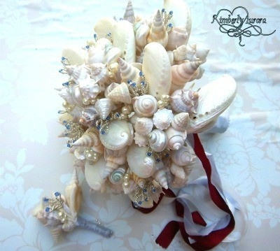 These Gorgeous Beach Wedding Bouquets And Boutonniere Are Made With Seashells Silver Beading Swarvoski