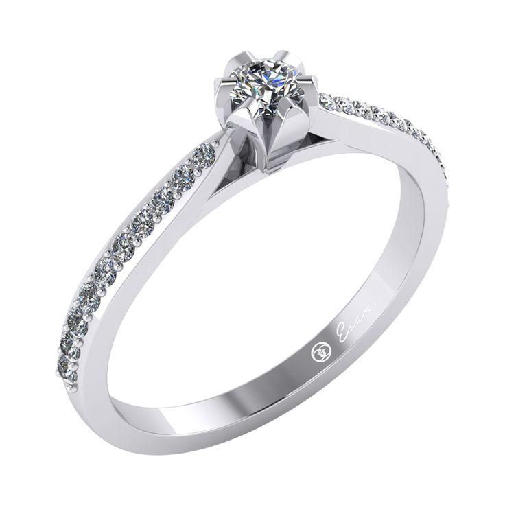 Inel de logodna din aur alb cu diamante model side stones ES92