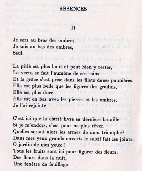 Paul Eluard, Absences (Capitale de la douleur)