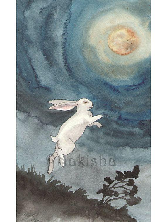 Réservé aux T - Original peinture à l'aquarelle de lapin - pleine lune, fantomatique lapin