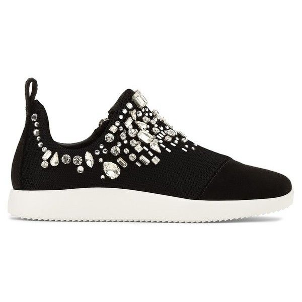 Giuseppe Zanotti Gemma (€1.190) ❤ liked on Polyvore featuring shoes, sneakers, black, black rubber sole shoes, giuseppe zanotti trainers, low profile shoes, giuseppe zanotti and black low top shoes