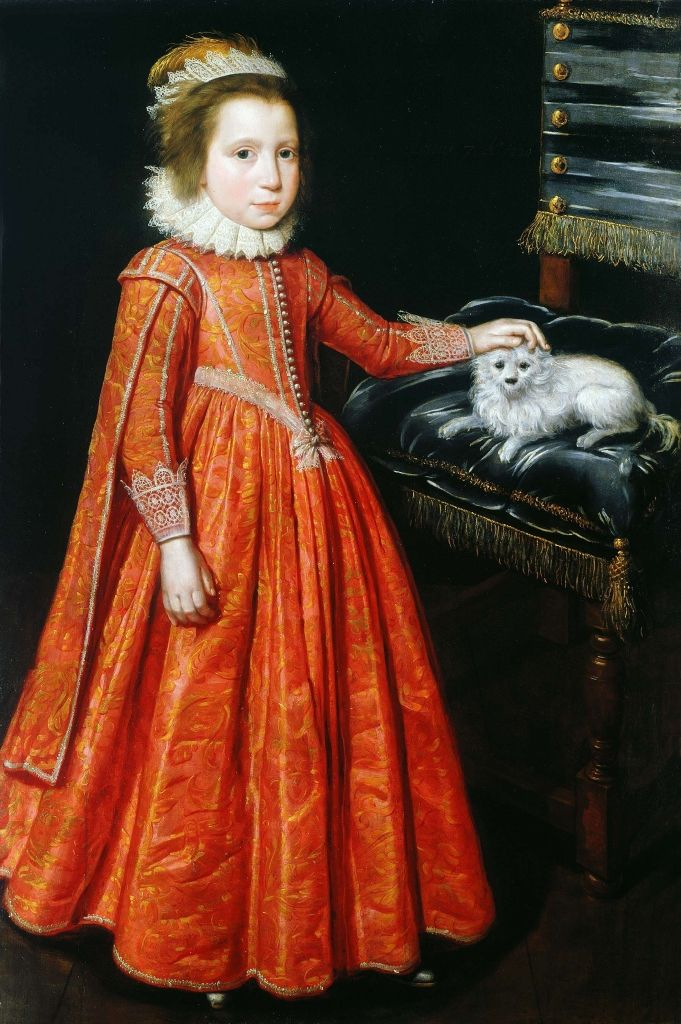 1620, Lady Mary Feilding, as Countess of Aran, later Marchioness and Duchess of Hamilton, by Daniel Mytens. The Weiss Gallery, London.