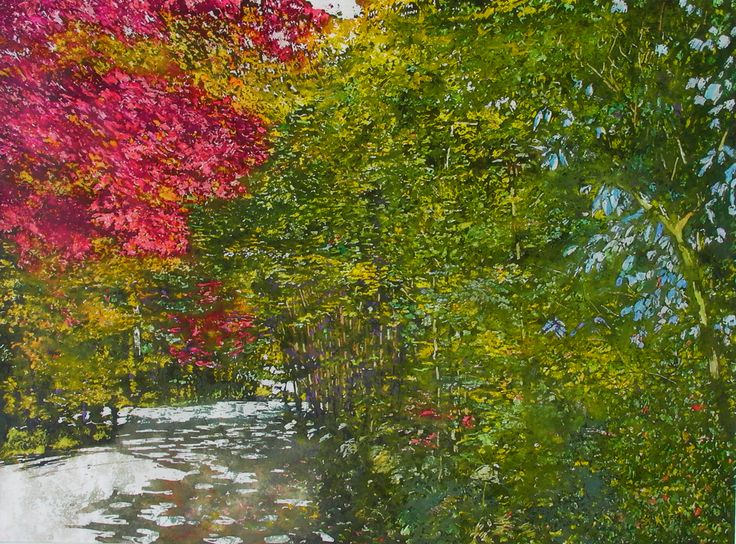 "road thru fall 10 22"" x 30"" micheal zarowsky watercolour on arches paper - private collection"