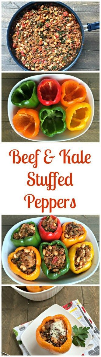 beef and kale stuffed peppers