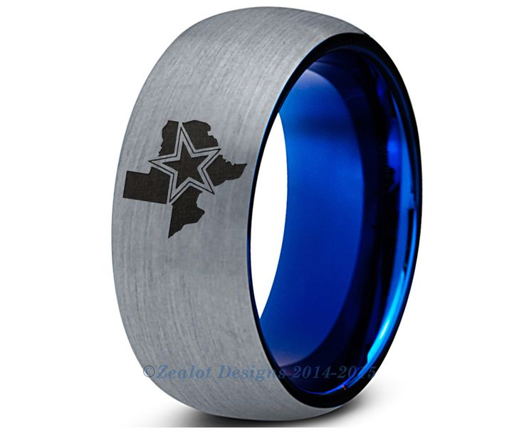 8mm Cowboys State Texas Blue Tungsten Ring Nfl Sports