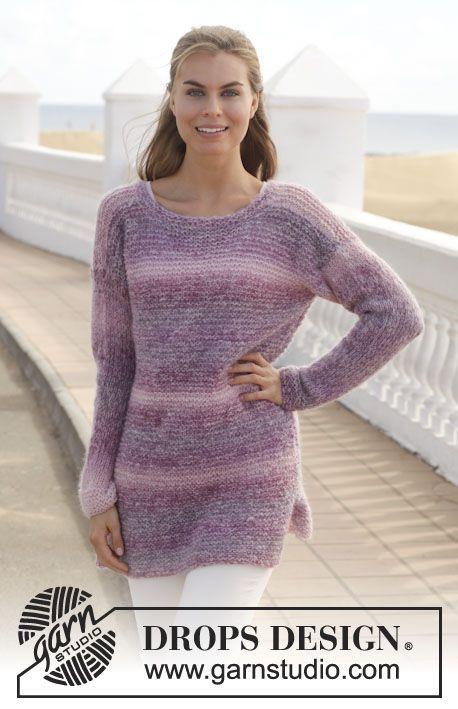"Knitted DROPS jumper in garter st in ""Delight"" and ""Vivaldi"" or ""Alpaca Silk"". Size: S - XXXL. ~ DROPS Design"