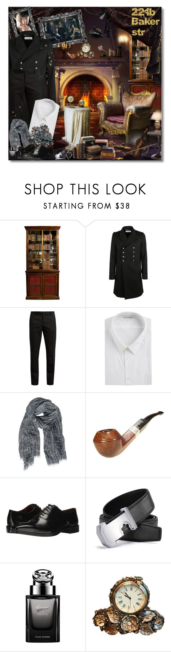 """""""221b Baker str..."""" by nannerl27forever on Polyvore featuring REGENCY, Yves Saint Laurent, Calvin Klein, Destin Surl, Massimo Matteo, Gucci, Jay Strongwater, Carl F. Bucherer, men's fashion and menswear"""