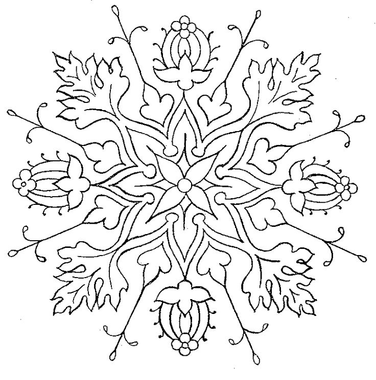 Free embroidery pattern flower medallion hand