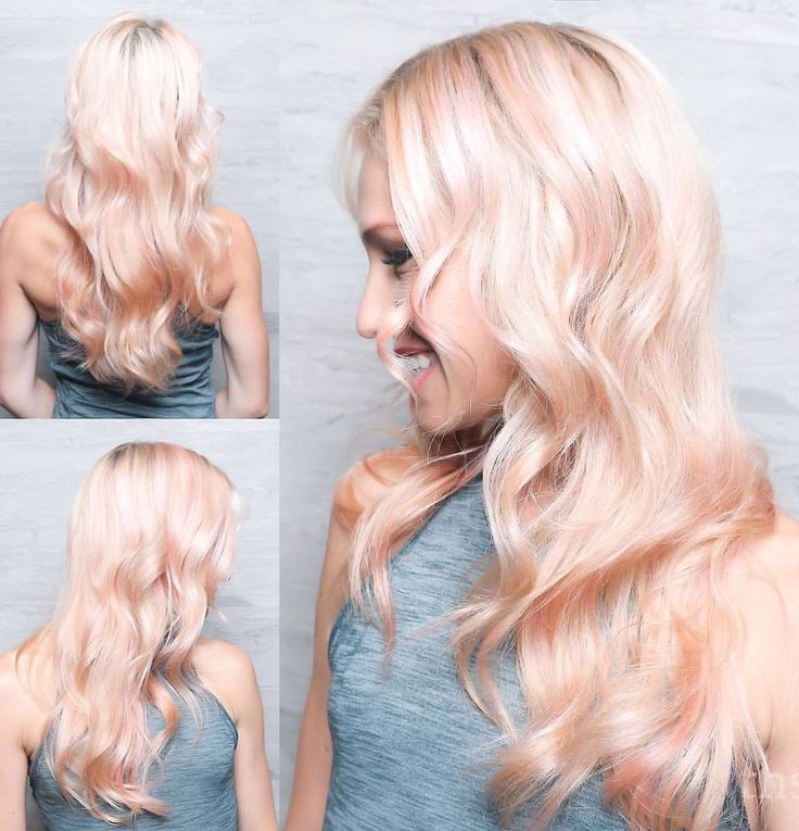 Peaches and cream blonde by @ashtonhair  Stage 1: Lift hair to a level 10 using Wella Blondor and 1/4 oz Olaplex. Rinse and apply Olaplex No 2. Tone with Redken ShadesEQ 9P for 5 min. Dry hair. Stage 2: Mix 1/8 oz Pravana Vivids Pink with 2 oz Pravana Clear. Foil throughout.