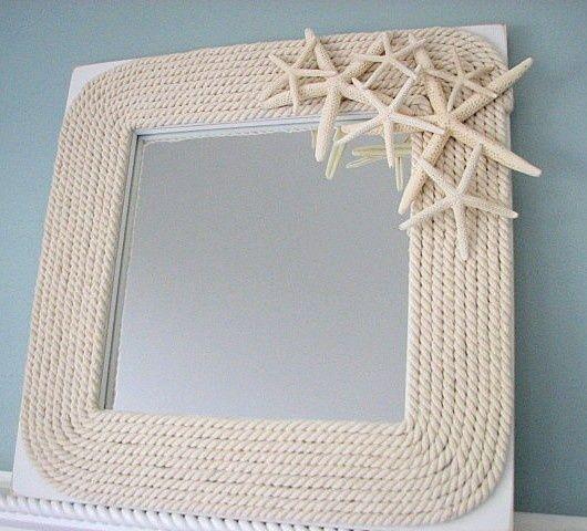 Espejo con cuerda y estrellas de mar creaciones y - Espejos para manualidades ...