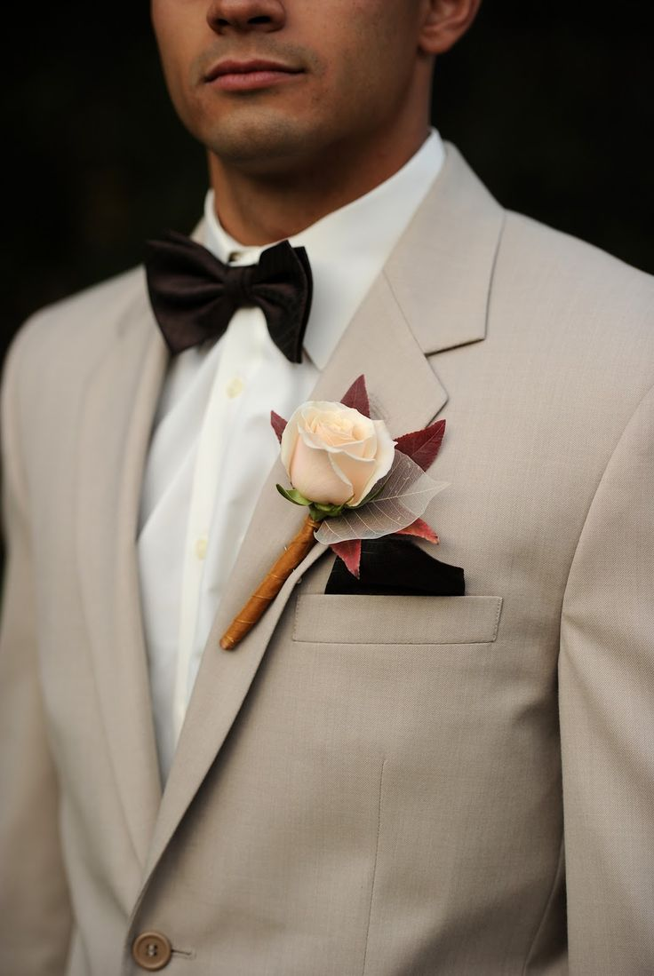tan suit with chocolate bow tie for fall  Love the dark bow tie.