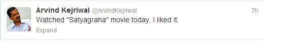 Arvind Kejriwal of the Aam Aadmi Party watched #Satyagraha and liked it.   Now isn't it time for you also to book your tickets too?