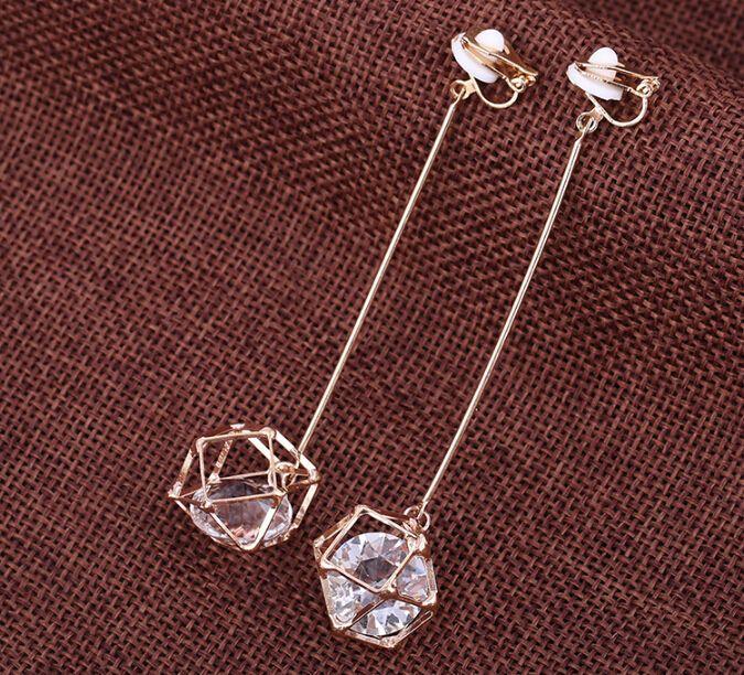 3.54'' Long fashionable hollow out zircon no ear pierced ear clip crystal non pierced earrings long largos