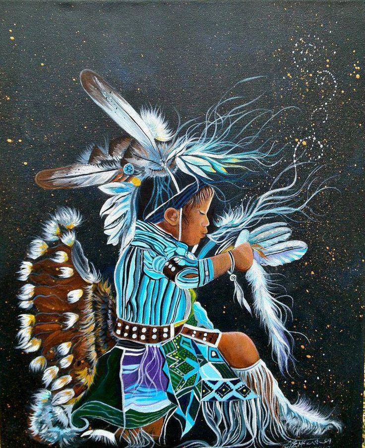 Vibrant blues against charcoal gray is my favorite, and the little girl is precious- consider me inspired. // Native American Art