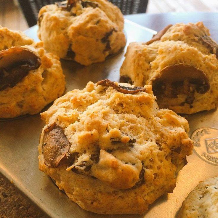 Vegan salty mushroom muffins are fresh out of the oven! 本日のマフィンはローズマリーでソテーしたマッシュルームたっぷりのソルティーマッシュルーム。店内でお食事する時間のない忙しい方、テイクアウトもできますよ。