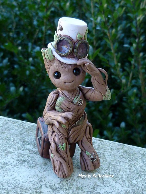 Steampunk Baby Groot Sculpture Polymer clay ooak by Mystic Reflections