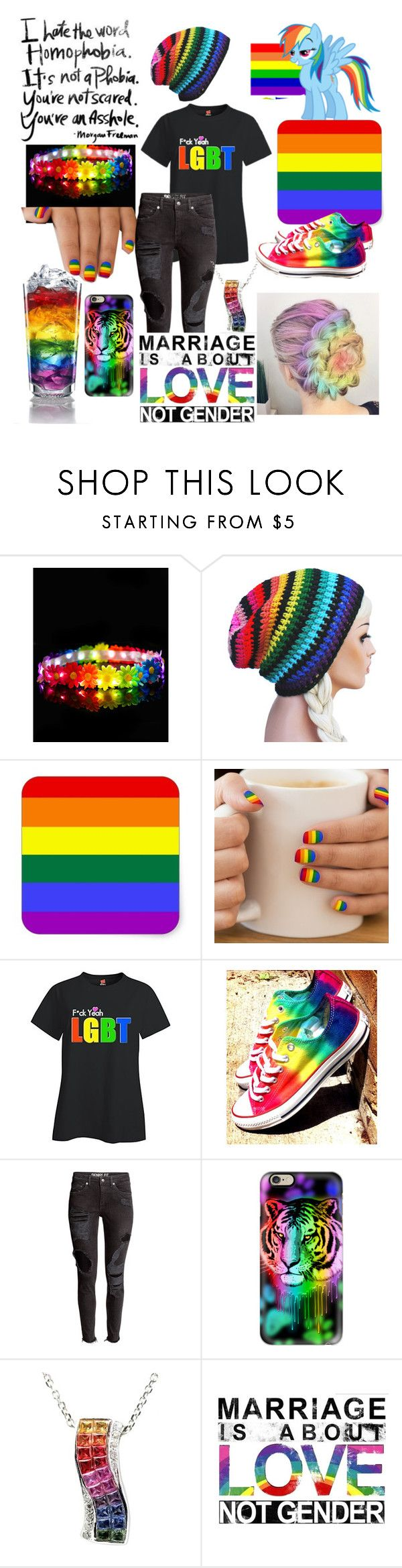 """gay pride <3"" by xenomorphs4life ❤ liked on Polyvore featuring Converse and Casetify"