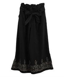 裾刺繍入りガウチョパンツ(黒-M)