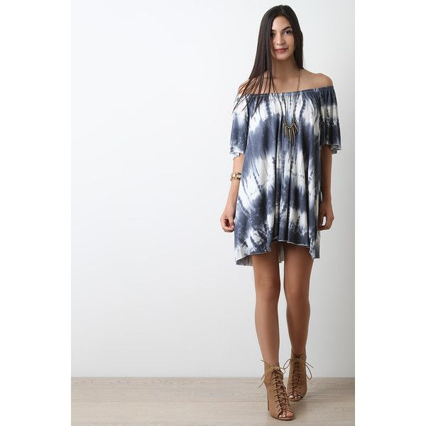Tie Dye Off The Shoulder Dress (72 CAD) ❤ liked on Polyvore featuring dresses, tie dye dress, off shoulder sleeve dress, short-sleeve dresses, tye dye dress and short sleeve dress