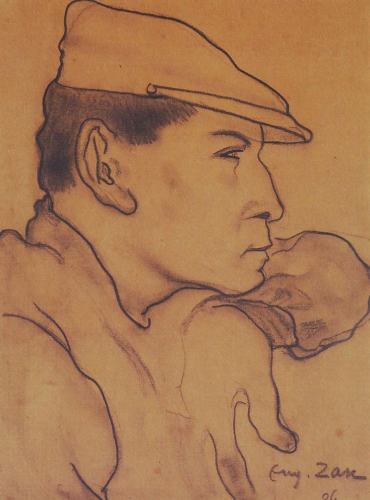 """""""Man in a Cap"""" (1906) by Eugeniusz Zak (Polish-Jewish painter,1884 - 1926), crayon on paper, Polish Institute of Arts & Sciences of America, New York, NY."""