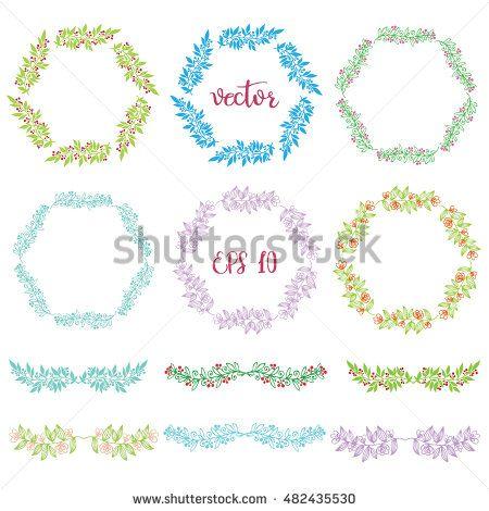 Set of badges, floral elements, wreaths