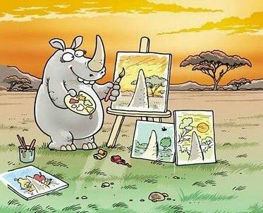 perspective is everything: Pointofview, Artists, Rhinos Art, Horns, Points Of View, Giggles, Perspective, Paintings, Eye