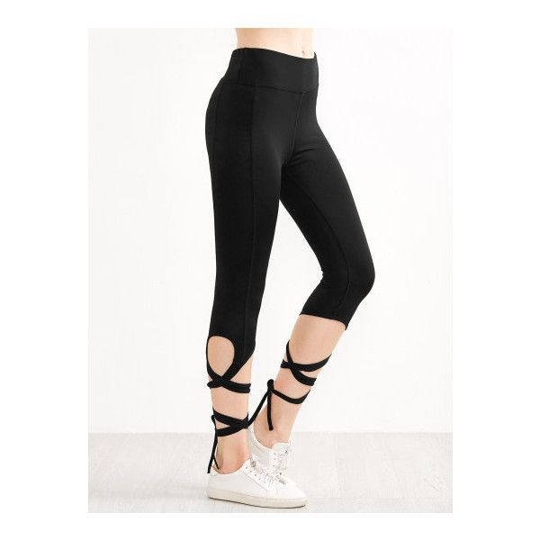 SheIn(sheinside) Black Criss Cross Tie Leggings ($17) ❤ liked on Polyvore featuring black, legging pants, stretch trousers, criss cross leggings, spandex pants and stretchy pants