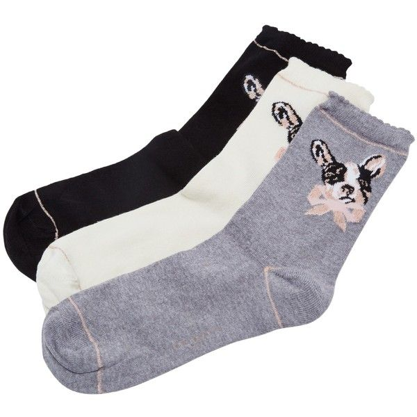 Ted Baker Jenell Organic Cotton Rich Dog Print Ankle Socks ($33) ❤ liked on Polyvore featuring intimates, hosiery, socks, organic cotton socks, frilly ankle socks, ted baker socks, tennis socks and short socks
