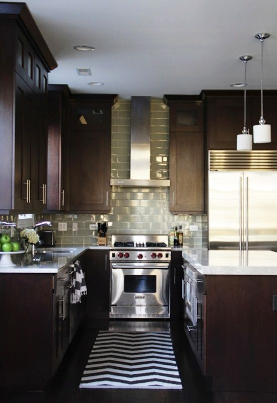 Dark Kitchen Idea: Dark Cabinets, Light Countertops And Splash Back, Dark  Floor