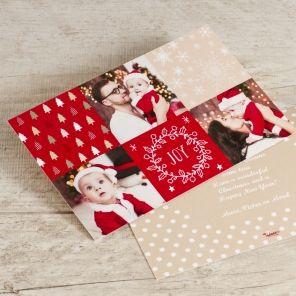 Fotokerstkaart met rode details | Tadaaz #christmascard #kerstkaart #foto #rood #sterren #kerstbomen #joy