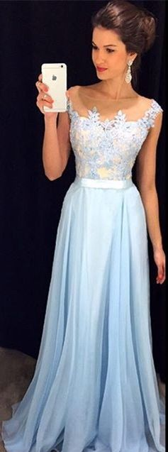 Light Blue Lace Prom Dresses 2018