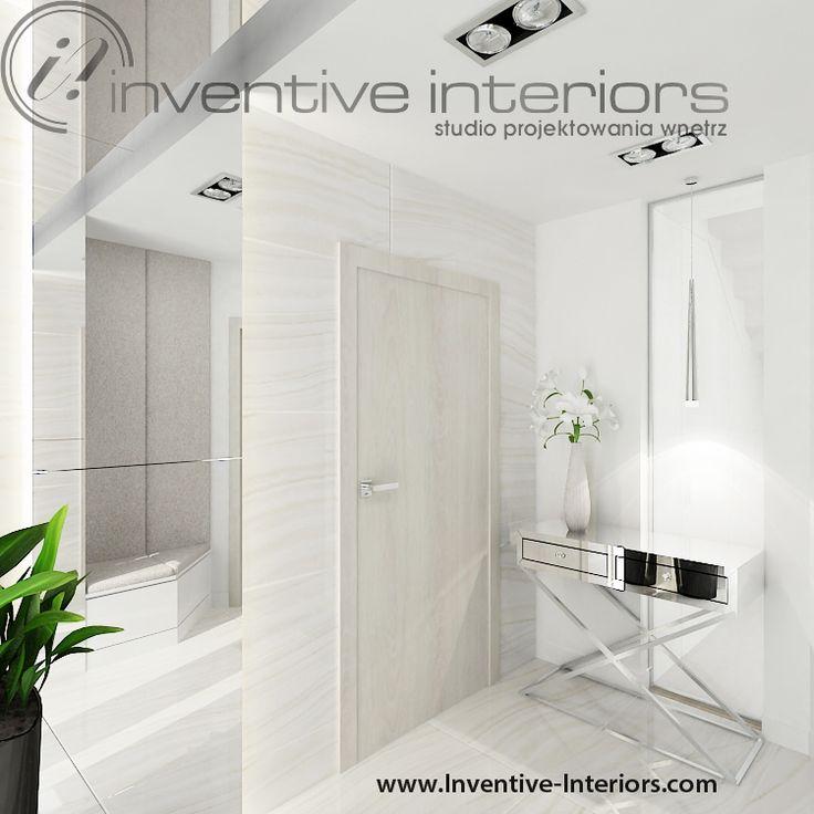 Projekt wiatrołapu Inventive Interiors - jasny wiatrołap - lustro na suficie - konsola