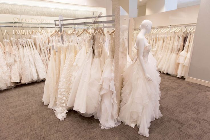 Dresses on display at David's Bridal's New York City location. Photo by Alex Ulreich for Racked