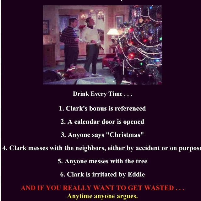 Christmas Vacation drinking game....love that this exists!