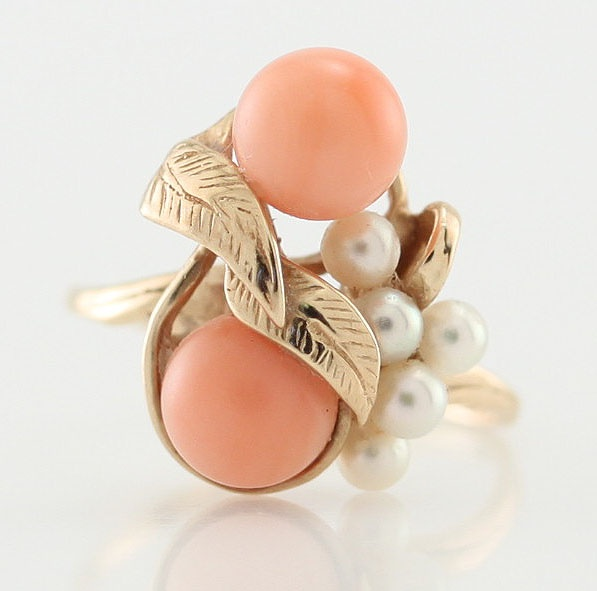 Vintage 14k Yellow Gold Coral Pearl Cluster Cocktail Ring